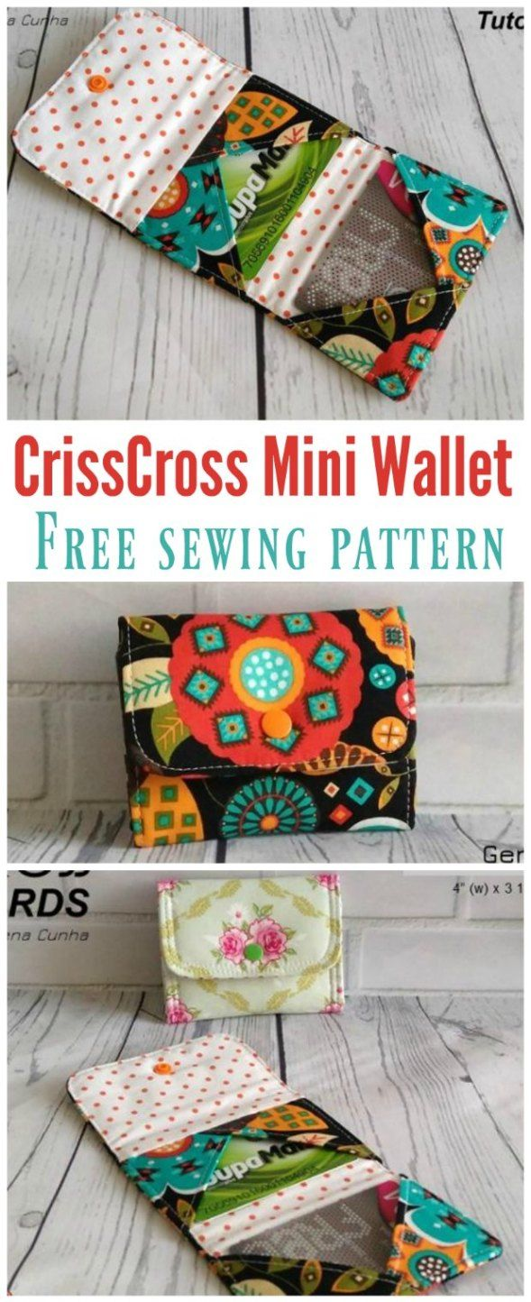 Crisscross Cards Mini Wallet pattern - free | Nähen, Geldbeutel ...