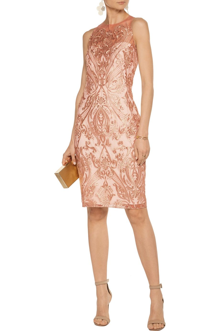 Shop on-sale Marchesa Notte Metallic embroidered tulle dress. Browse other  discount designer Dresses