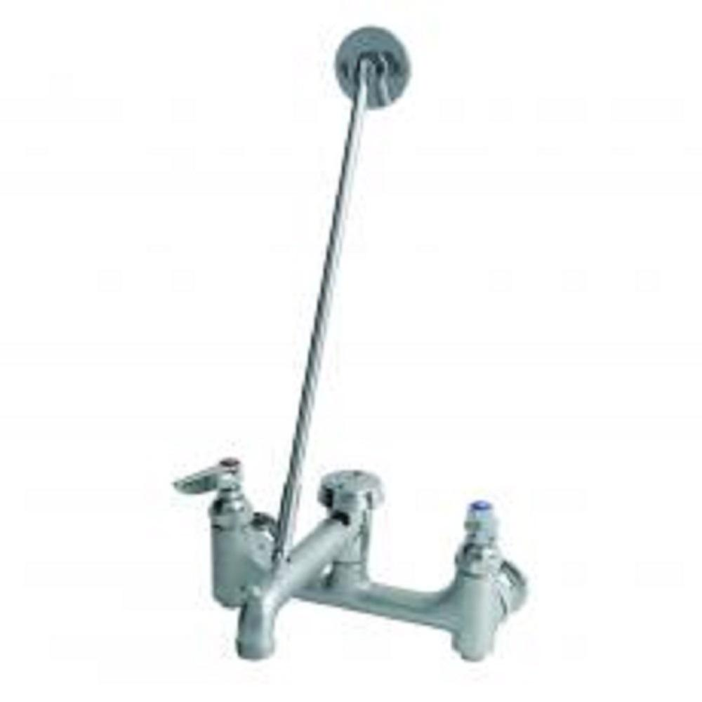 T S Brass 2 Handle Utility Faucet With Shut Off In Rough Chrome