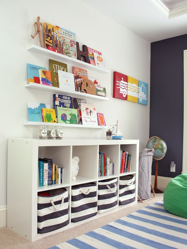 Great Storage Ideas For A Kids Room   The @IKEAUSA Expedit Bookcase +  @LandofNod Striped Bins Are A Match Made In Heaven!