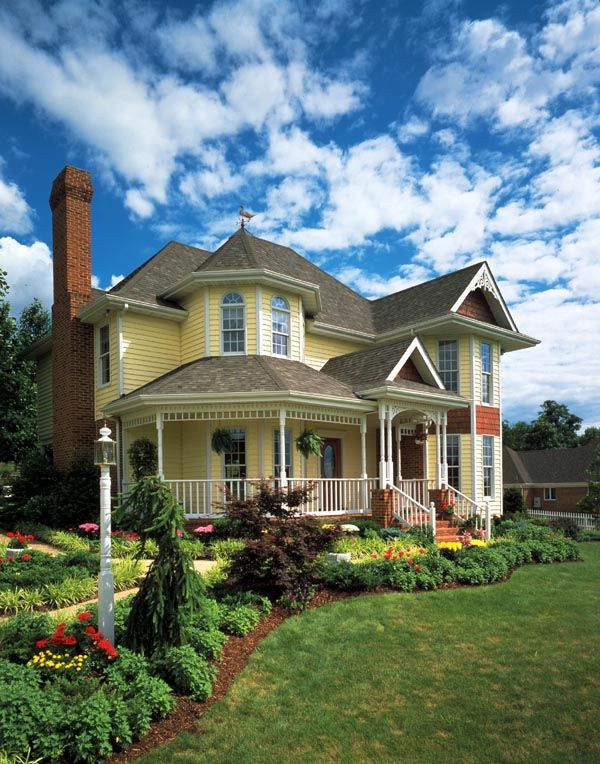 Elevation Of Country Farmhouse Victorian House Plan 95647