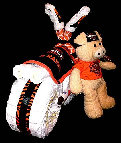 Amazon.com : Boy Harley Davidson Diaper Cake Motorcycle For Baby Shower  Centerpiece Or Gift