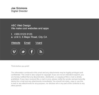 Another example of our newest email signature template ...