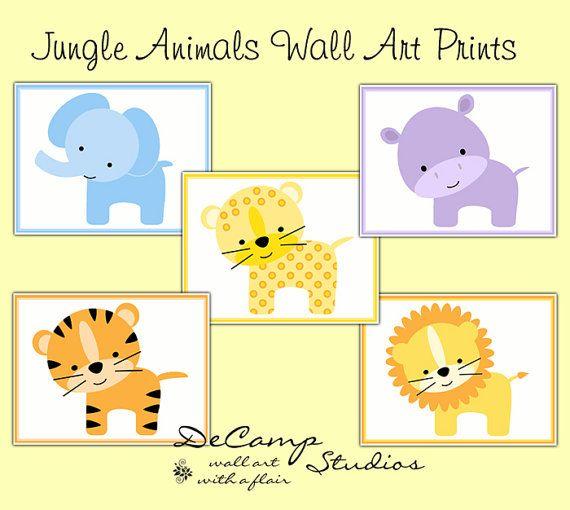 Cute Jungle Zoo Animals 8x10 Wall Art Prints for baby boy ...