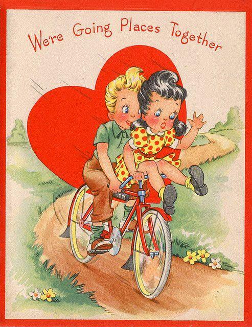 vintage valentine images vintage valentines day card bike 12 - Vintage Valentines Cards