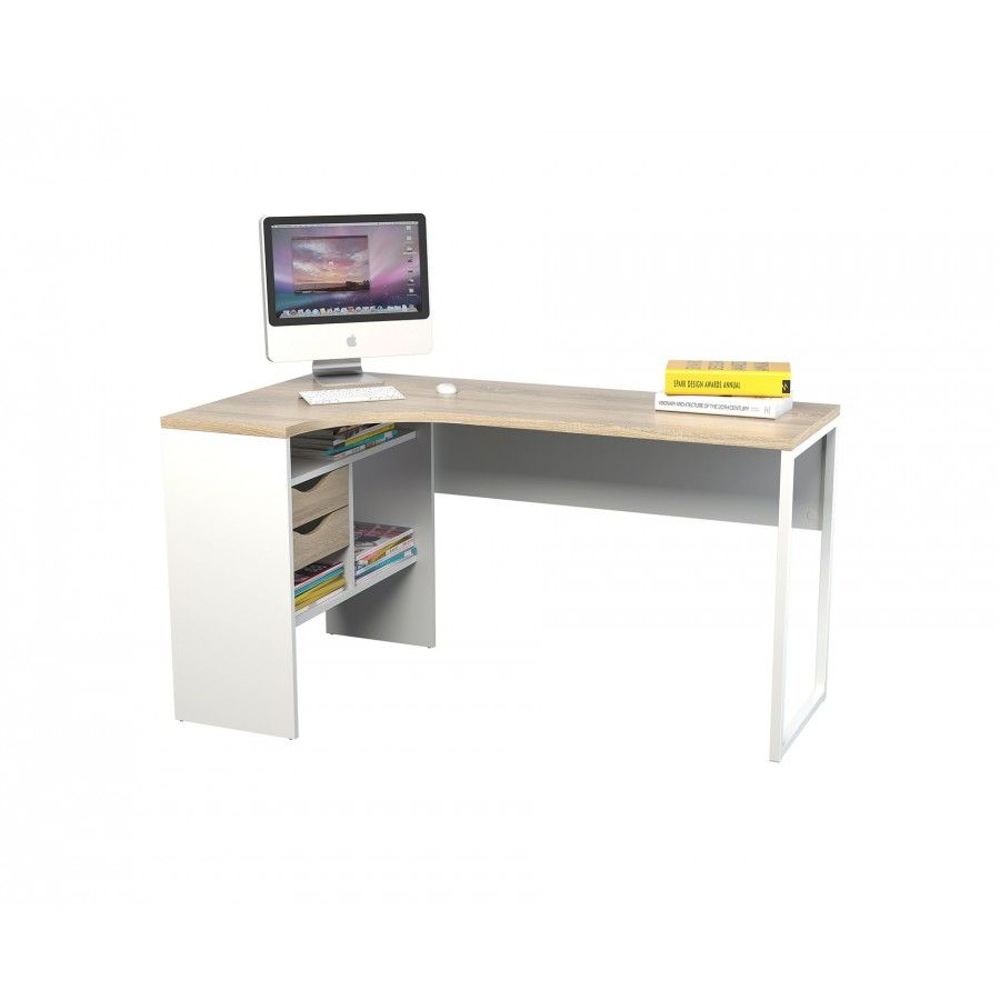 Chelsea white and oak effect corner desk home office desks desks furniture storage