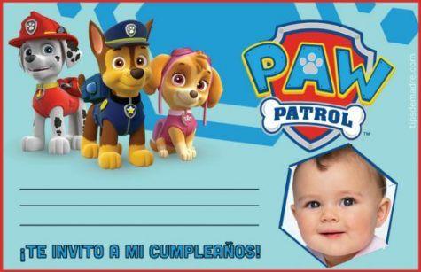 Paw Patrol Invitacion De Cumpleaños Con Foto Fotomontaje De