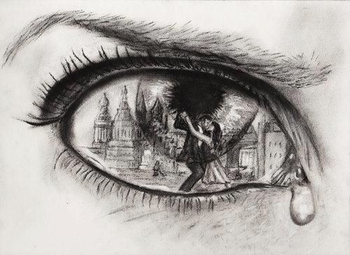 I think it's amazing how the reflection is drawn in the eye, showing the sadness compared to the happiness. Pretty emotional.