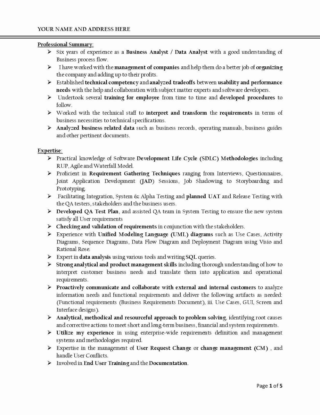 40 sample business analyst resume in 2020 business