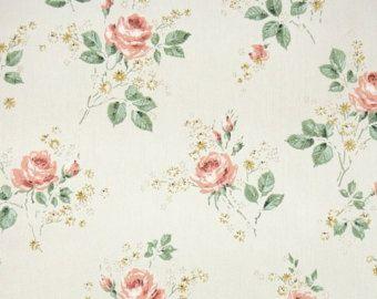 ann es 1950 vintage wallpaper papier peint floral p ches roses orange et des fleurs jaunes sur. Black Bedroom Furniture Sets. Home Design Ideas
