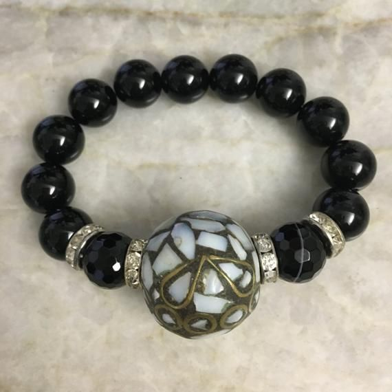 ed771fd38a91a Black onyx beaded bracelet with tibetan inlaid mother-of-pearl ...
