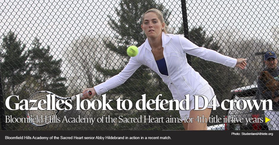 Bloomfield Hills Academy of the Sacred Heart senior Abby Hildebrand in action on Monday, April 25, 2016.