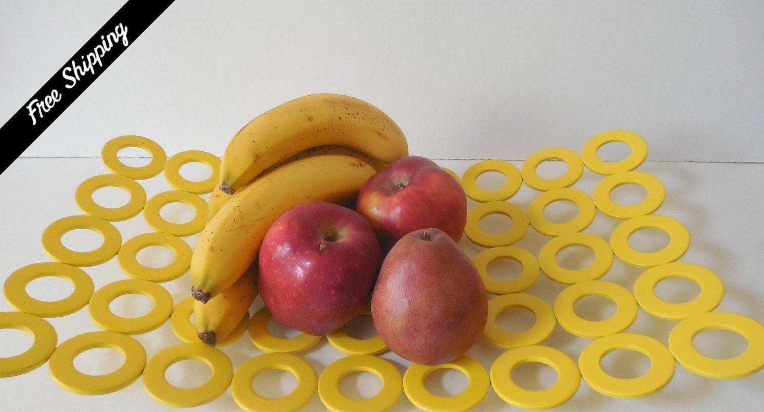 Art Deco Yellow Welded Washers Fruit Bowl/Platte by VintageSistersx2 on Etsy