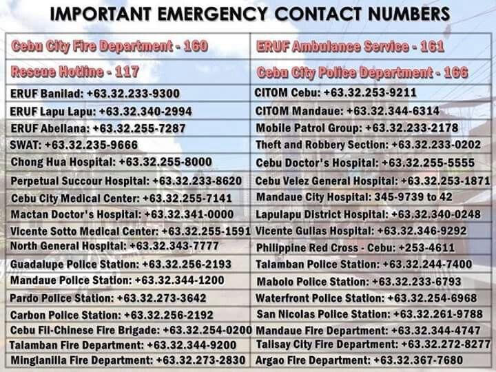 Cebu Philippines Emergency Contact Numbers Cebu Emergency City