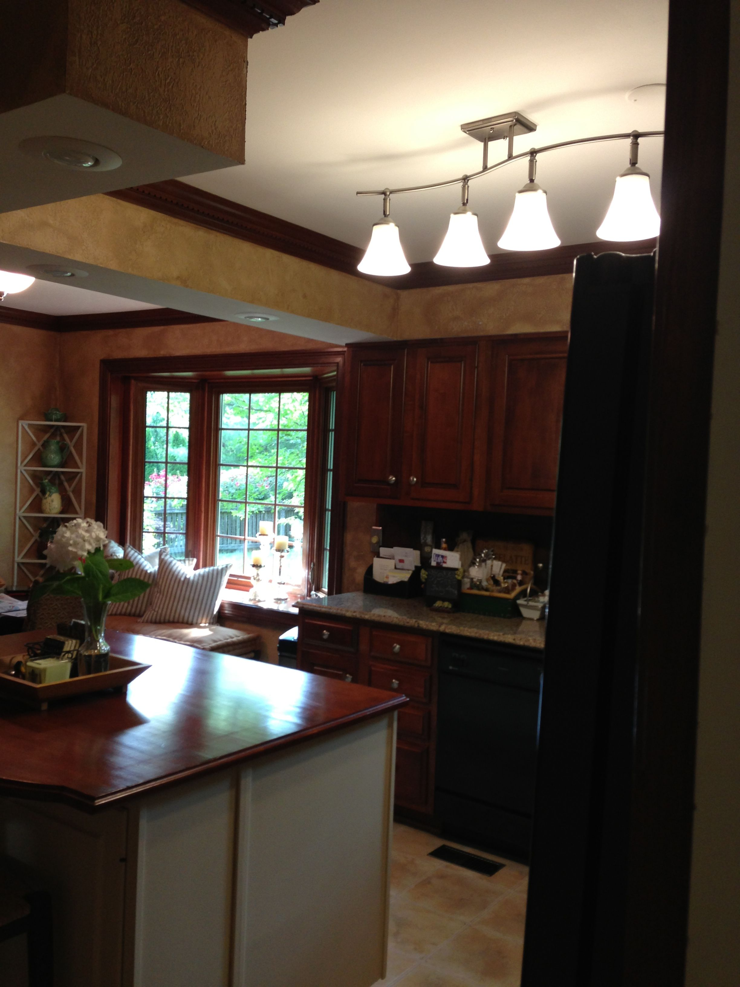 Replaced Fluorescent Light In Kitchen With Semi Mount 4 Globe Fixture For The Home Pinterest
