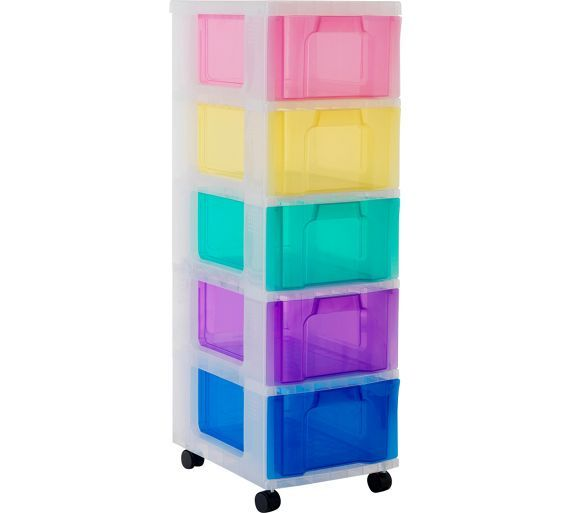 Buy Really Useful 5 Drawer Tower Storage Unit Multicoloured At Argos Co Uk Your Online Shop For Plastic Sto Plastic Box Storage Storage Unit Silver Storage