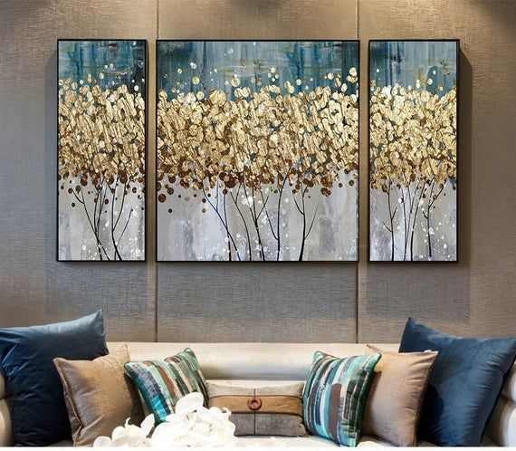 Gold foil Abstract tree art painting wall art prin