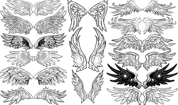 Black white wings free vector download (12,948 Free vector