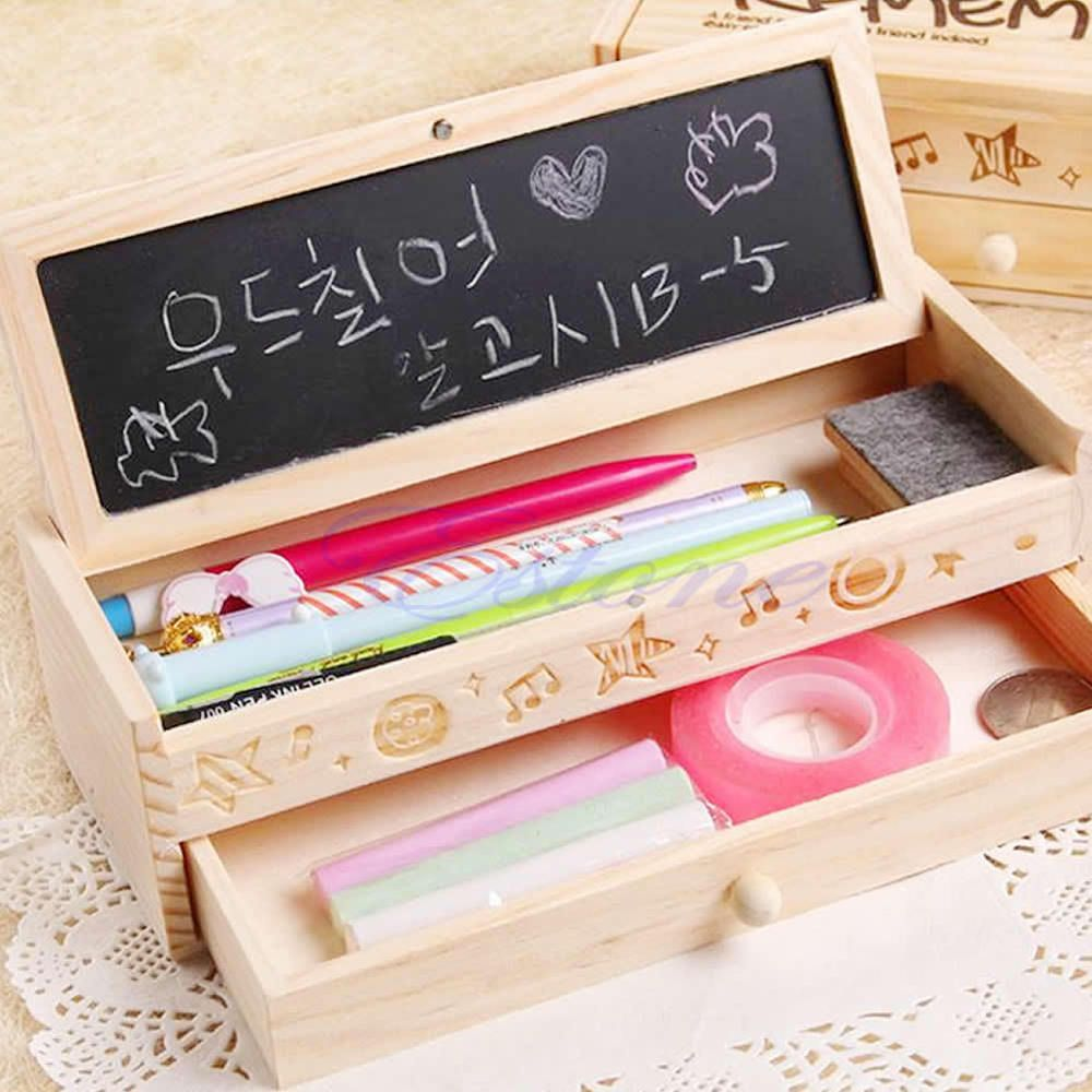 Craft pens to write on wood - Multifunctional School Pencil Holder Pen Case Stationery Bag Vintage Wooden Box