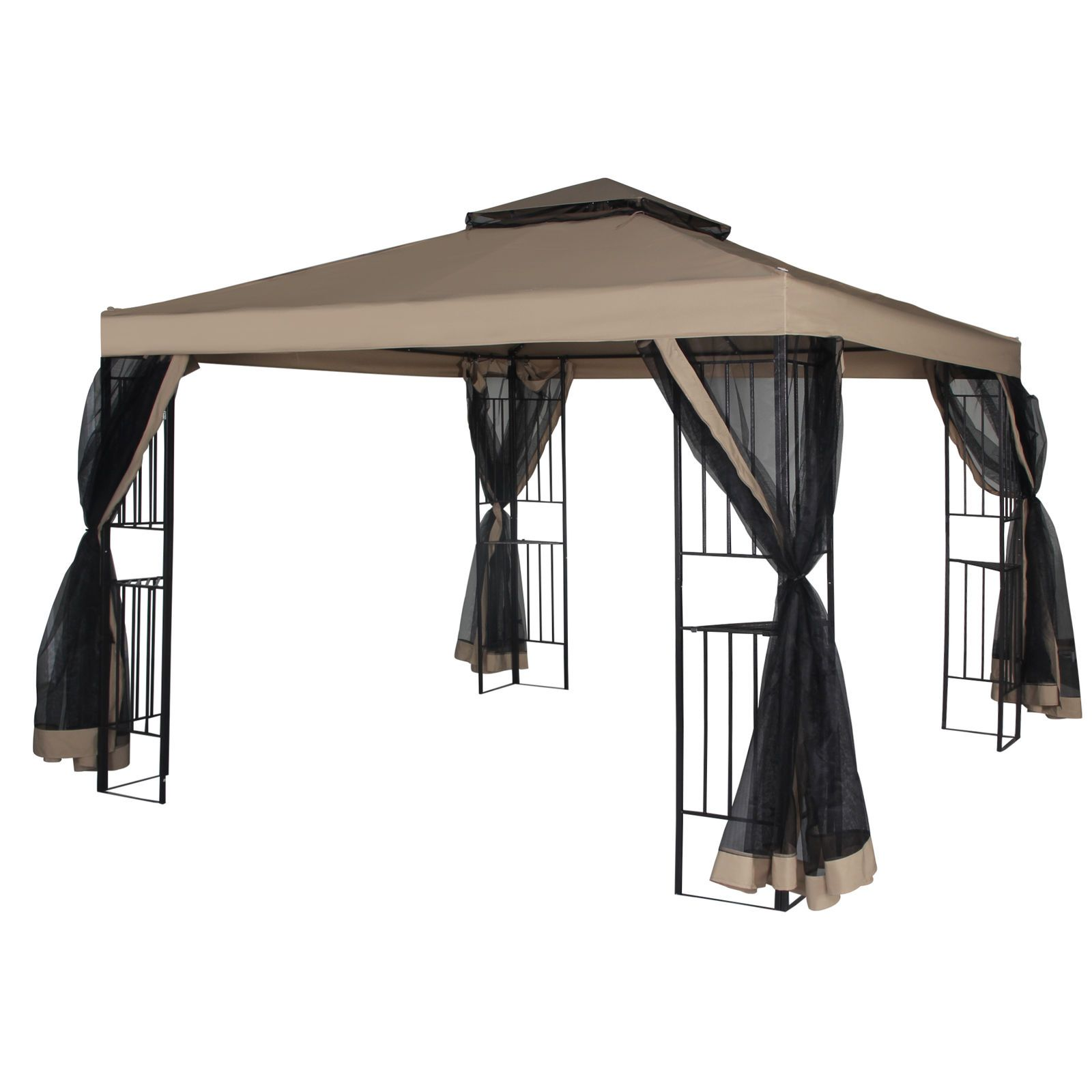 Patio Gazebo Canopy 10 X 10ft Backyard Double Roof Vented W Mosquito Netting With Images Backyard Gazebo Gazebo Gazebo Canopy