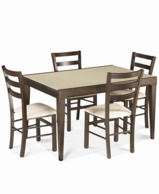 Café Latte 5Piece Dining Set Glass Top Dining Table and