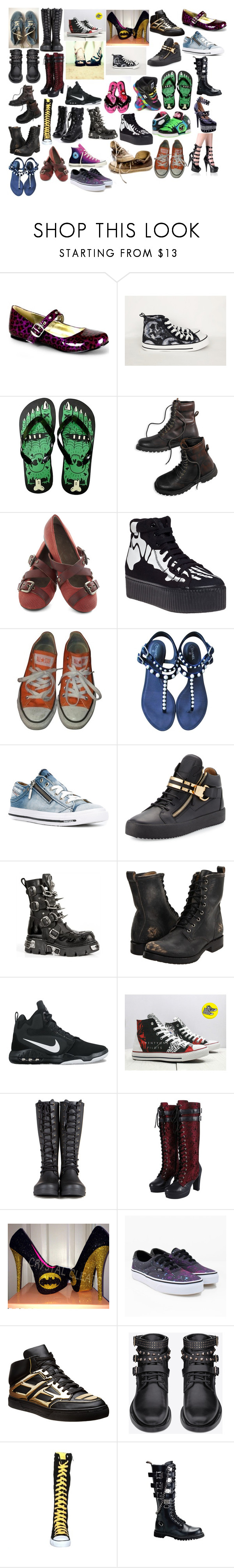 """Girl Shoes 26"" by spellcasters ❤ liked on Polyvore featuring Vans, Converse, Demonia, American Eagle Outfitters, Jeffrey Campbell, Chanel, Diesel, Giuseppe Zanotti, Reactor and Frye"