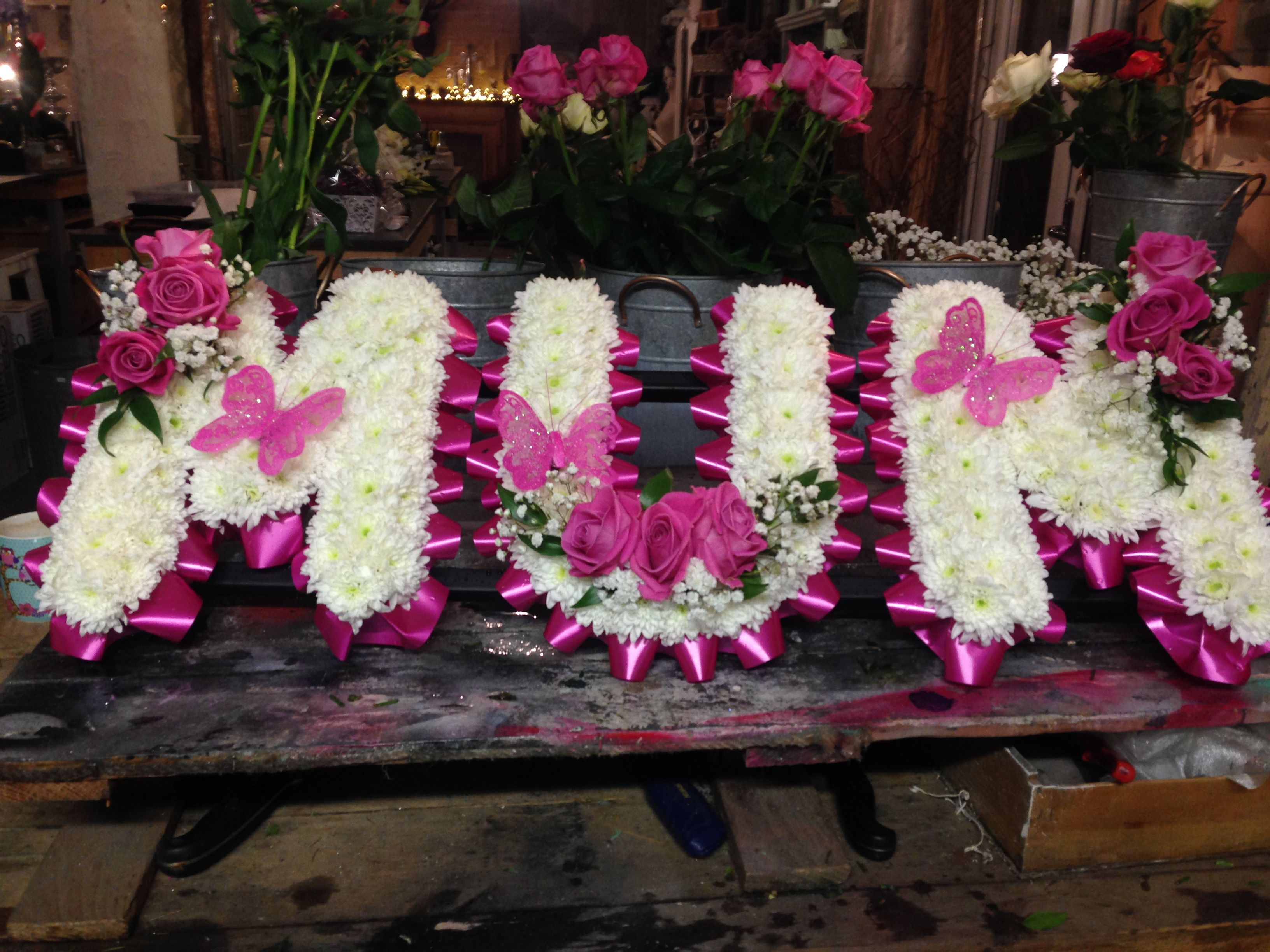 Funeral flowers mum funeral letters hot pink ribbon white funeral flowers mum funeral letters hot pink ribbon white chrysanthemum base pink roses izmirmasajfo Images