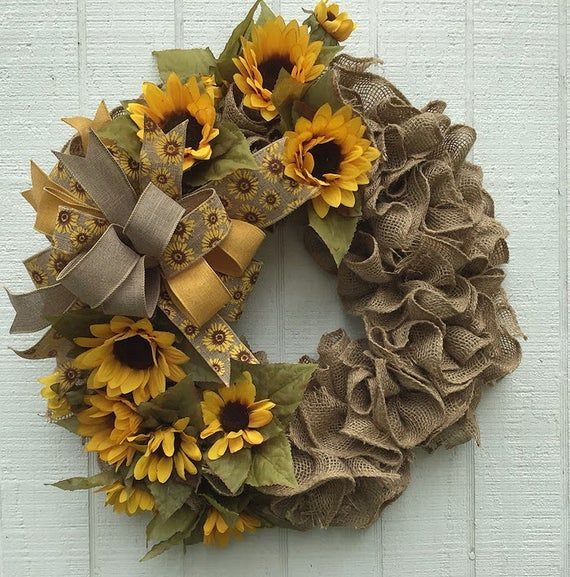 Photo of Daily burlap wreath with sunflowers, front door decor, summer wreath, free shipping, …