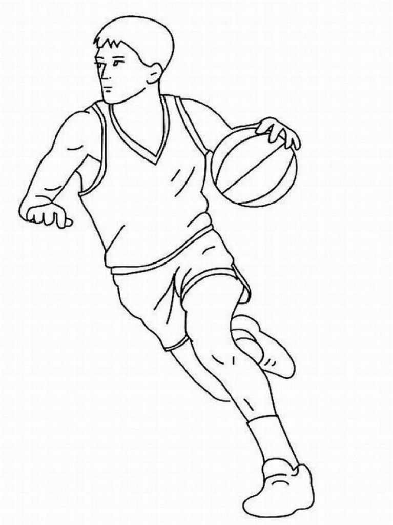 A Basketball Player Dribbling Free line Coloring Picture