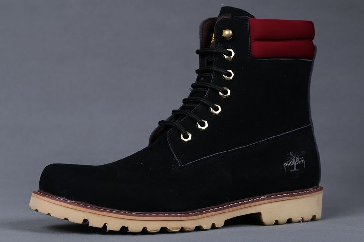 Timberland Men's Oakwell 6 Eye Moc Toe Boots - Black and Red