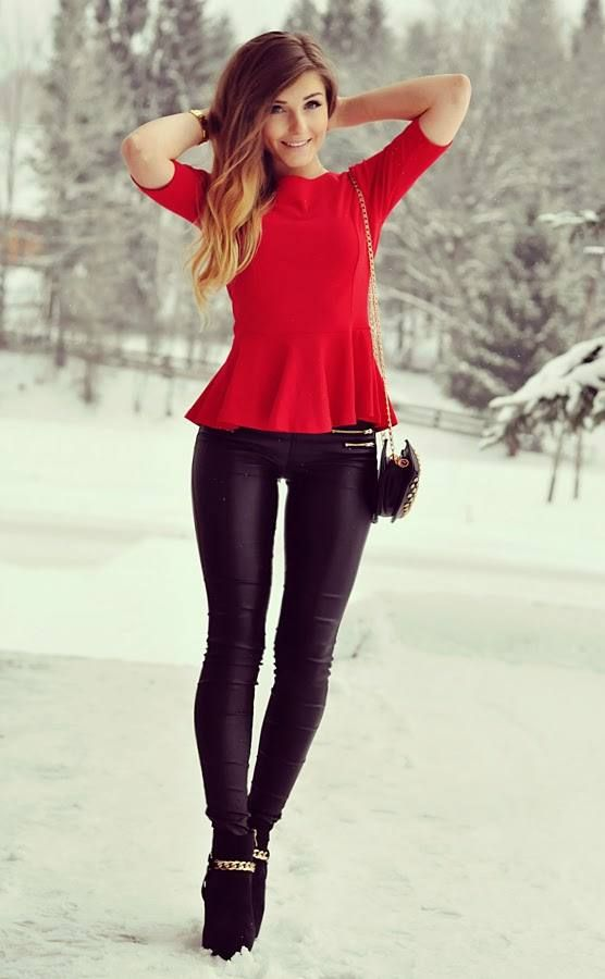 Red Peplum Top # #Styleev #Winter Trends #It-Girl #Best Of Winter Apparel #Top Peplum #Peplum ...