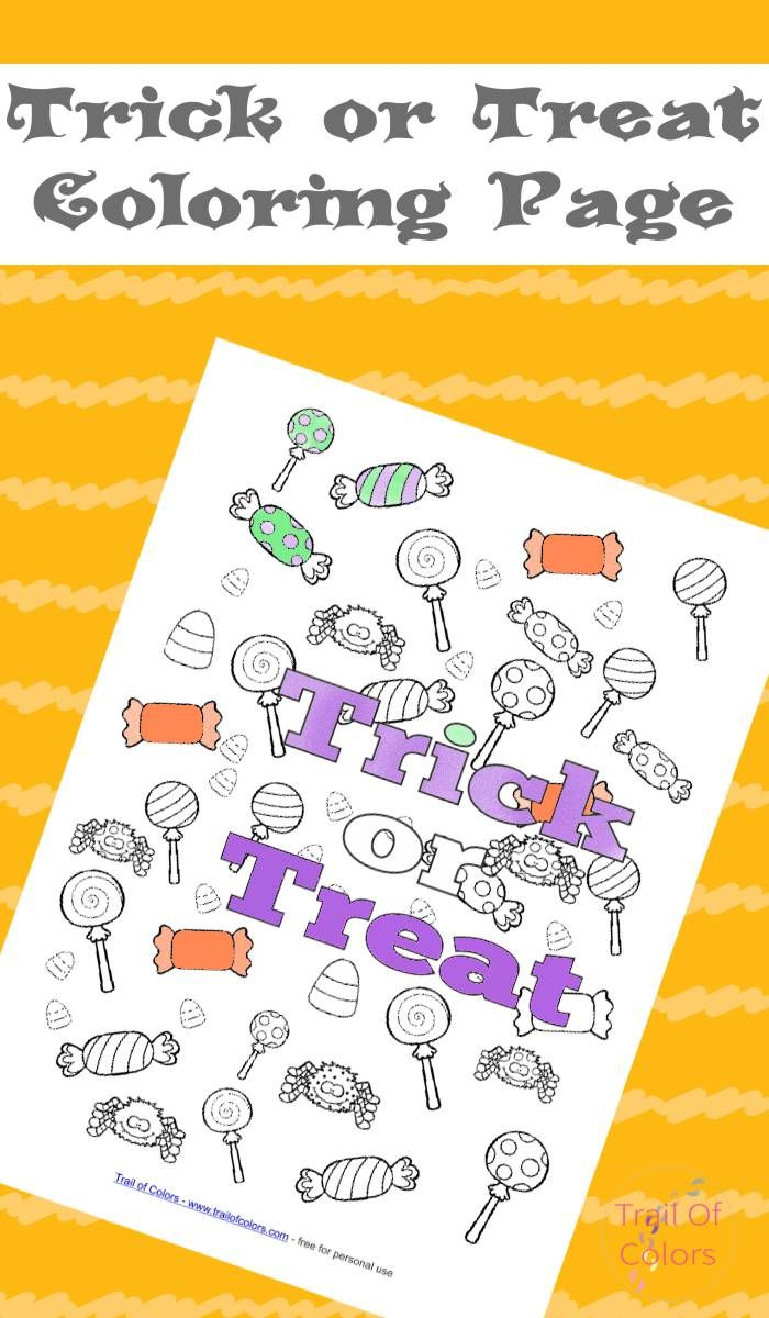 Halloween Trick or Treat Coloring Page | Halloween tricks