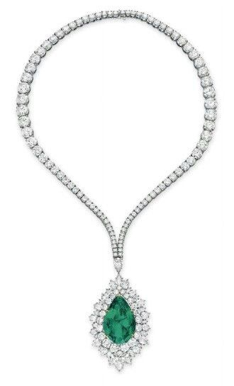 An emerald and diamond pendant necklace by harry winston an emerald and diamond pendant necklace by harry winston aloadofball Images