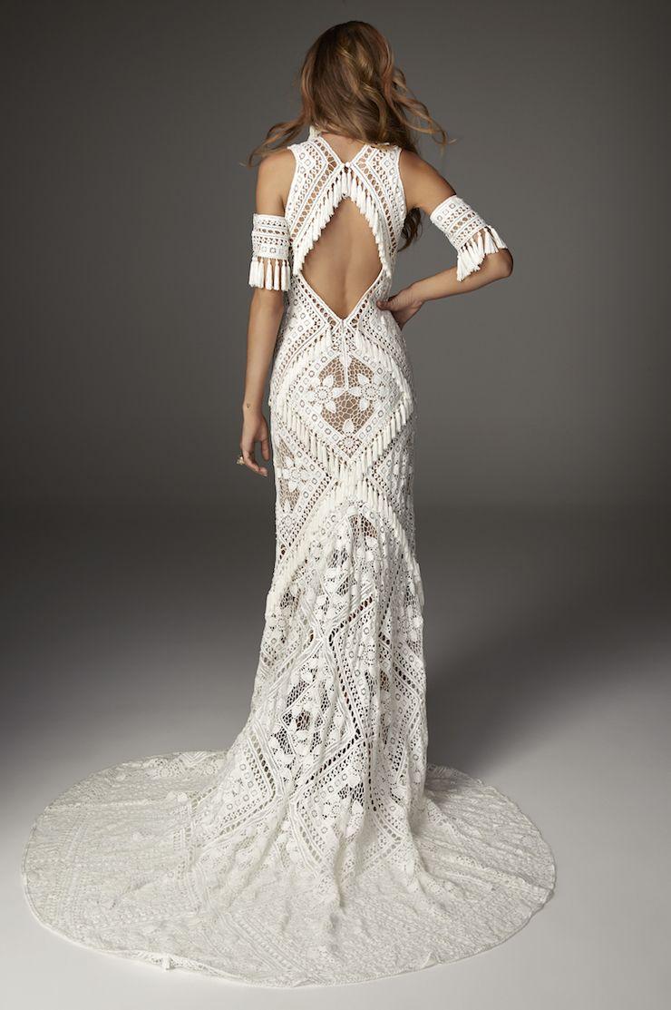 Blake By Rue De Seine Available At The Bridal Atelier Sydney Www Thebridalatelier Com Au T Crochet Wedding Dresses Fringe Wedding Dress Wedding Dresses Unique