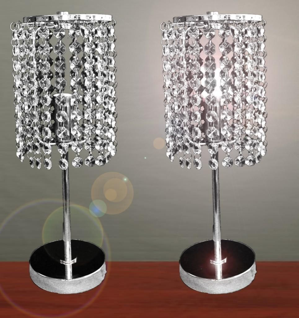 Furniture Pair Of Touch Bedside Table Lamps With Stainless Steel