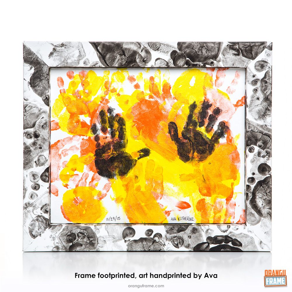 Even the littlest people can get creative with an OranguFrame – they just need a little help from you! This foot and handprint project is a blast to do and makes a great keepsake. Baby Hand & Footprint Keepsake Project | OranguFrame