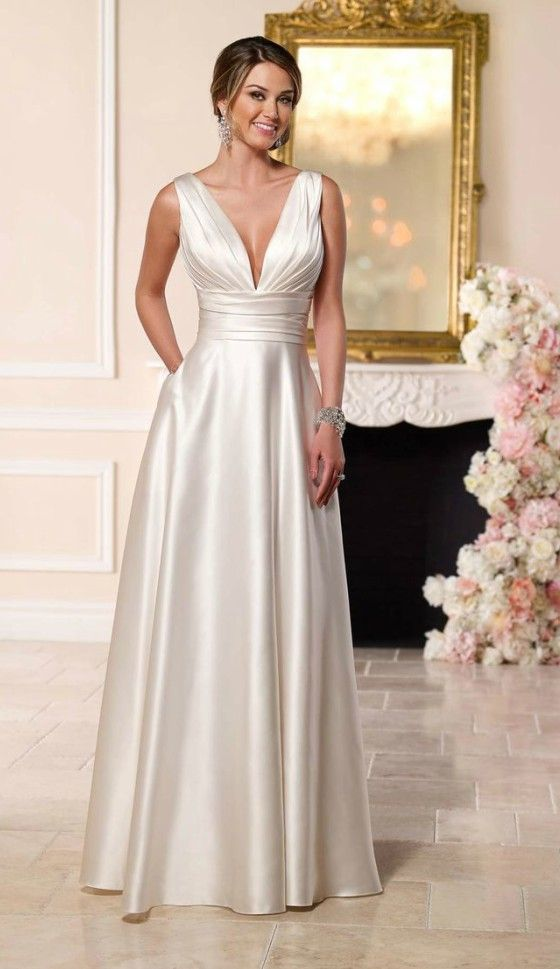 Simple elegant satin wedding dress for older brides over for Wedding dresses for 60 year olds