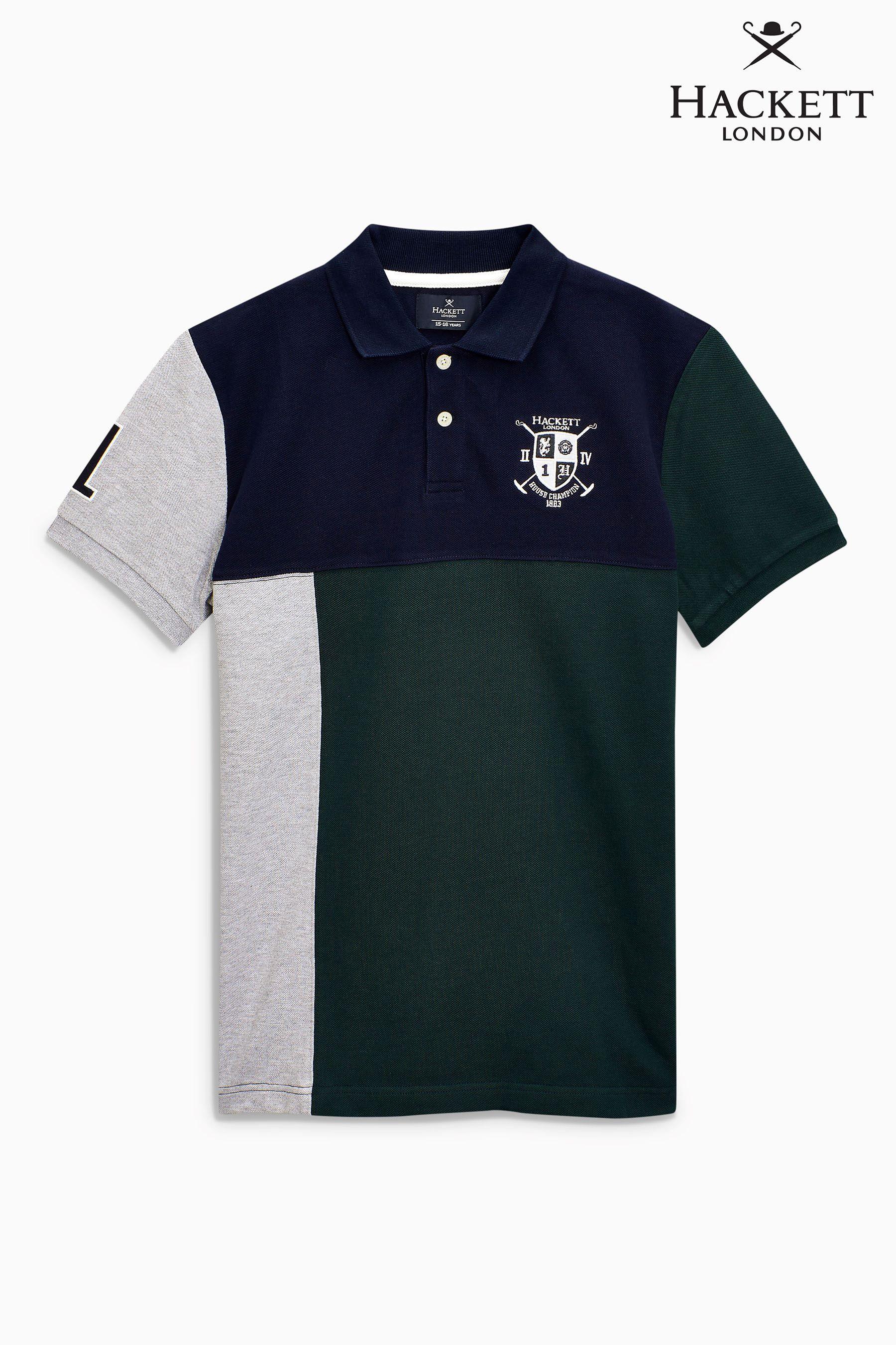 e951d3e8eea1e9 Buy Hackett Navy/Green Short Sleeve Off Centre Poloshirt from Next Brazil