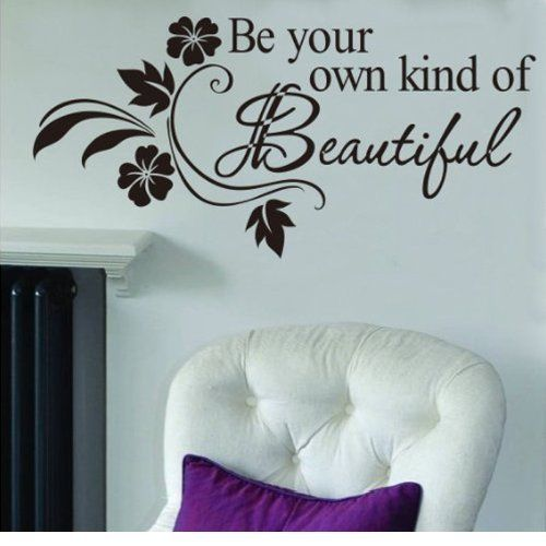 MZY LLC (TM) 12.5'x25.5' Be Your Own Kind Of Beautiful Quote Vinyl Wall Art Decals Mural Wall Sticker Black >>> Check this awesome image  : home diy improvement