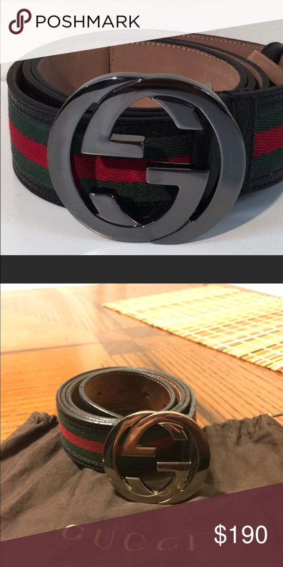 8f62c096bf2 Authentic Men s Gucci belt black  red green stripe Authentic Gucci slighty  used