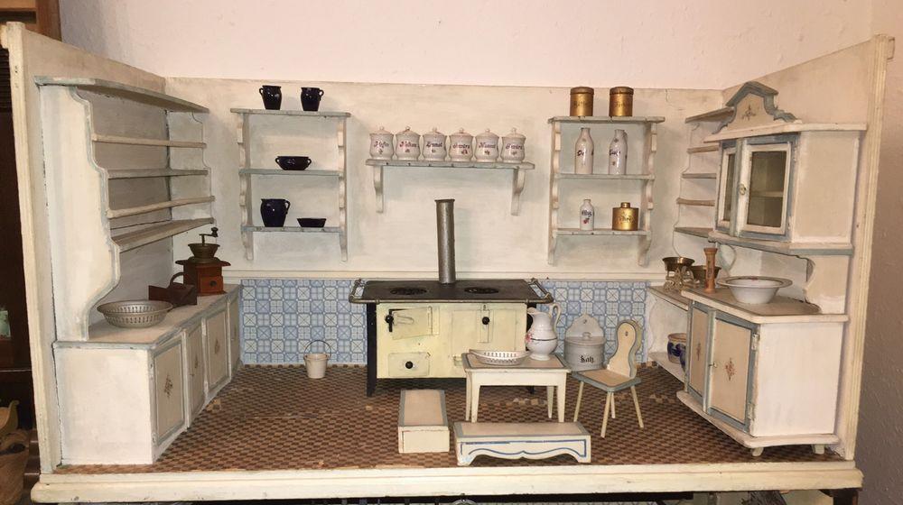 Antike Puppenstube aus Sammlung Gottschalk ? um 19 Jh Küche