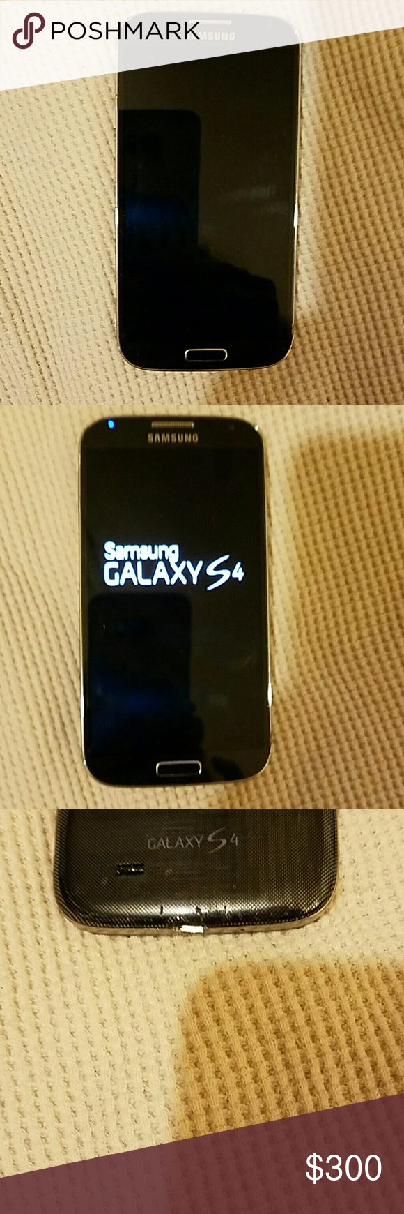 Samsung Galaxy S4 cell phone I bought this phone in April of 2015 for $600 and it has been awesome.  I upgraded my phone so now I have to let it go.  It has no scratches on it except as shown in picture 4.  They got there by me trying to take the case off.  It is in perfect working order.  ?ike new condition.  It comes with two cases. Samsung Other