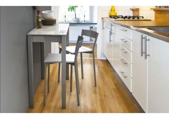 Mesa o barra peque a con pata deslizante encimera cristal - Mesa barra cocina ...