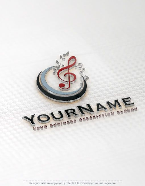 Exclusive design music notes designed logo compatible free 00096 3d logo mockup reheart Choice Image