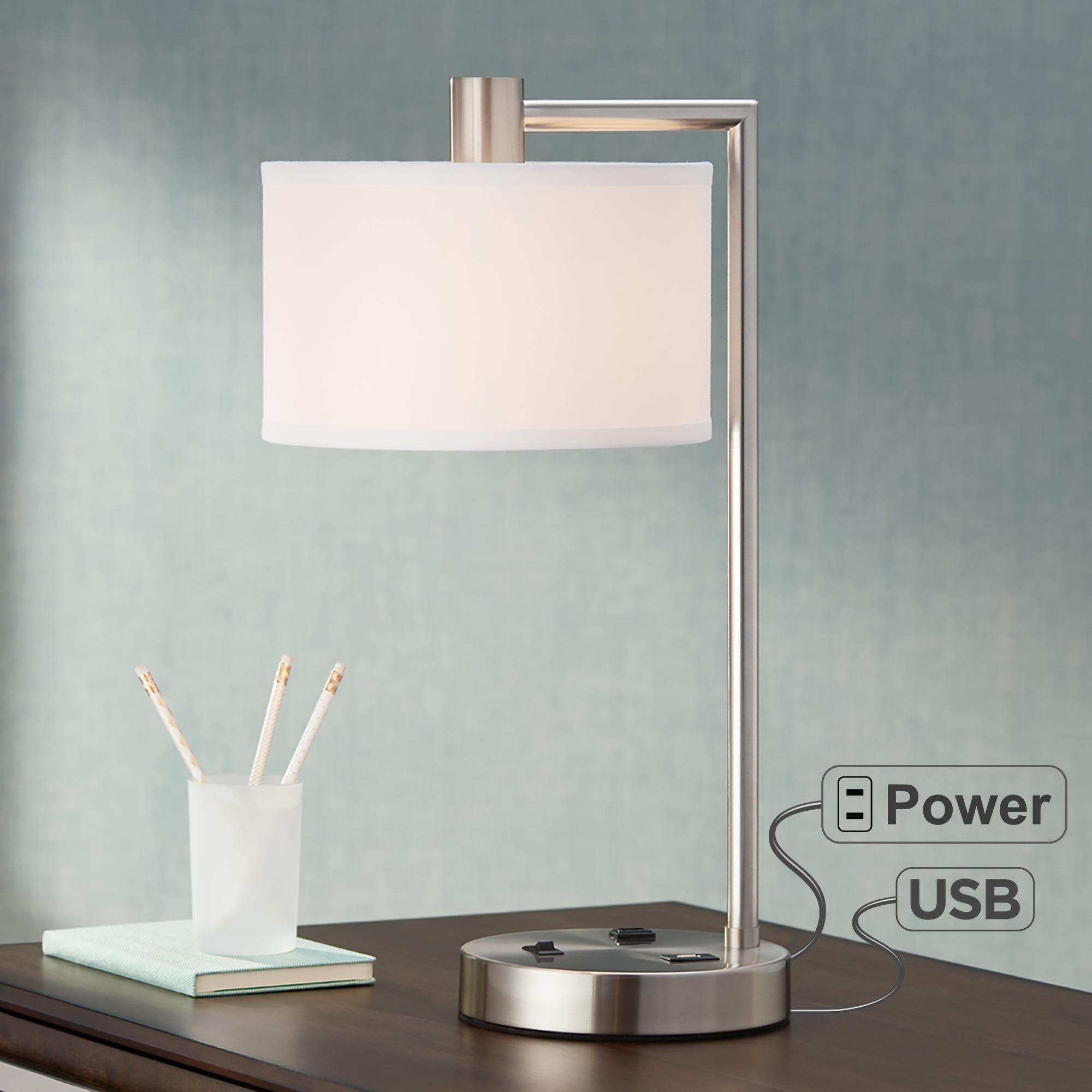 Colby Brushed Nickel Desk Lamp With Outlet And Usb Port In 2020 Desk Lamp Contemporary Table Lamps Unique Lamps