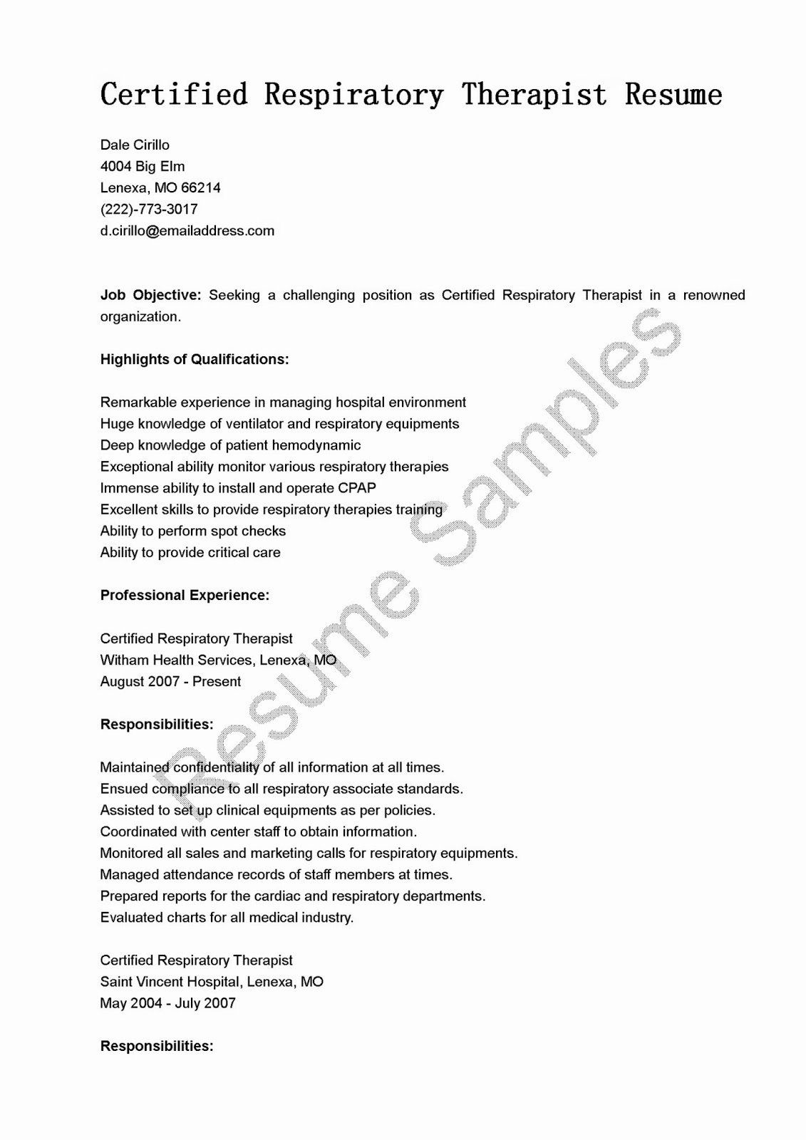 25 Respiratory therapist Resume Template in 2020 Resume