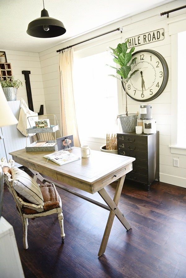 farmhouse decor farmhouse style living room decor split modern apartment decorating ideas Farmhouse style office makeover - From drab to fabulous farmhouse office.  Get decor sources u0026 how this office went from an 80u0027s tri-level to the  character ...
