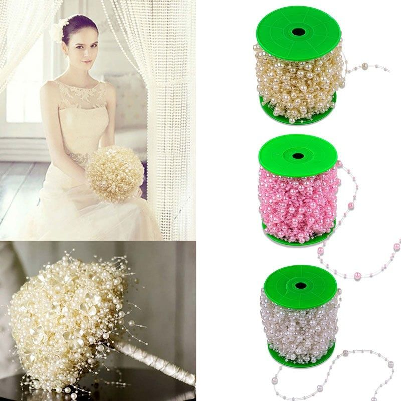 5 Meters Fishing Line artificial flowers Pearls Beads Chain Garland Flowers DIY wedding decoration Hair flowers for decoration,Q