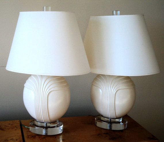 Sale Pair Of Ceramic Lucite Table Lamps Lamp Lucite Table Table Lamp