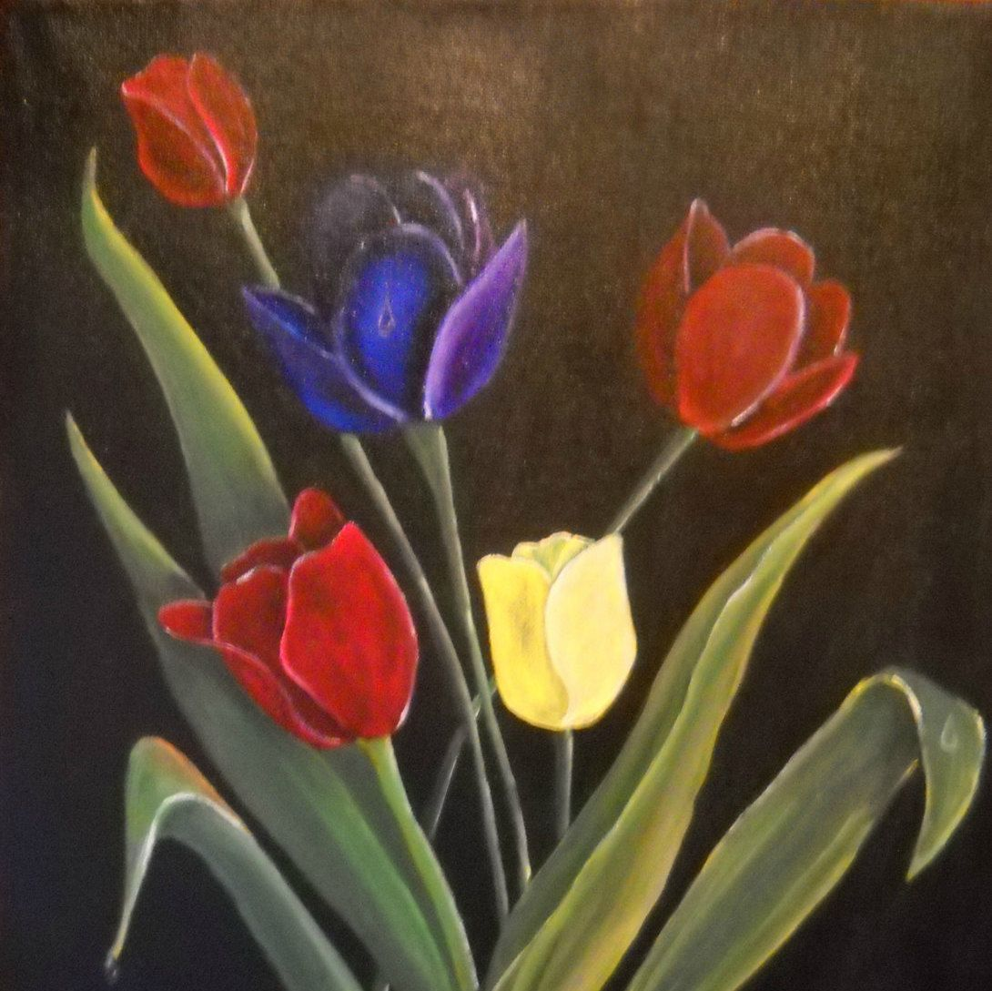 flower painting tulip bouquet floral wall art tulip wall art